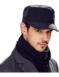 Kenmont otoño invierno hombres lana Solid campo de color cadete visera del casquillo del sombrero militar
