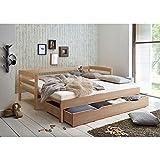 Lomado Funktionsbett ausziehbar mit Bettschublade, Buche massiv Natur lackiert, Liegefläche 2X 90x200cm, Bettschubkasten als 3te Liegefläche 90x190cm