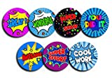 168 Superheld Comic Teacher Belohnung Aufkleber – Lob Words – 30 mm – 7 Designs