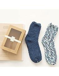 Socks ZY El piso de hombres y mujeres adultos se deslizan los calcetines de la manga. Calcetines gruesos para dormir. Calcetines calientes otoño e invierno calcetines sueño alfombra de terciopelo perla Watao , f , 3#