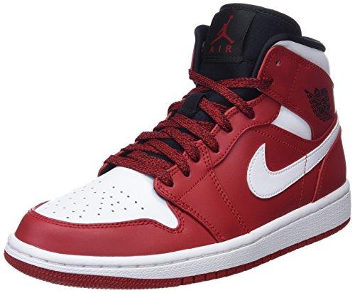 NIKE Herren Air Jordan 1 Mid Basketballschuhe, Schwarz (Gym Red/White/Black 605), 46 EU