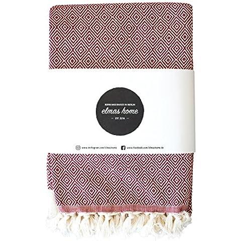 Confortable manta diaria para la casa el sofá la cama o la playa - Estilo Vintage - 100% algodón - 240 x 200cm XXL (Rojo rubí)