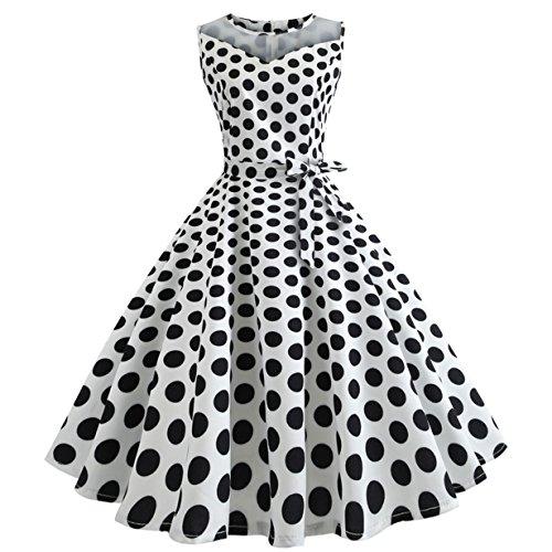 , Loveso ❤️ Damen Vintage Polka Dots A-linie Ohne Arm Rockabilly Kleid Cocktailkleider Swing Kleider 1950er Retro Sommerkleid (Weiß(Mit Mesh)❤️, S) (1950er Jahre Kostüme)