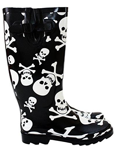 Damen amp;h A Arbeits Mädchen gummistiefel Footwear Skull bones CFnxtq