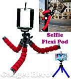 Gadget Hero's Selfie Flexi Pod Universal Tripod Stand Mount With Holder Pod For Camera & Mobile Phone. Assorted Colors.