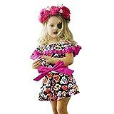 Sonnena Kinder Kleider Mädchen Langarm Halloween Kürbis Drucken Kleid Kurzarm Schulterfrei Glanz Kleid mädchen Baumwolle Rüschen Kleidung Minikleid Hemdkleid Baby Tutu Kleid 1-3 Jahre alt