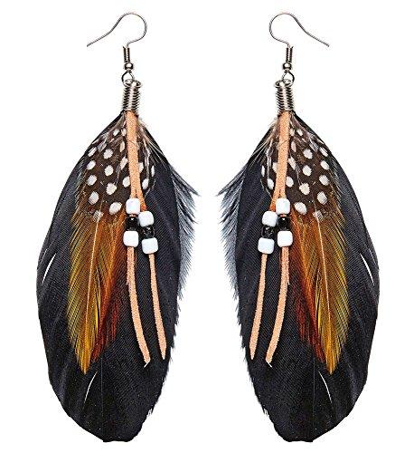 Wilde Hippie Kostüm - shoperama Feder Ohrringe Leder Perlen Schmuck Damen Indianerin Steampunk Hippie Wilder Westen Flower Power Federn Boho