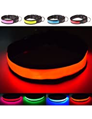 LED-Halsband, extrahell, USB wiederaufladbar, Großartige Sichtbarkeit und verbesserte Sicherheit–4Farben, 3Größen