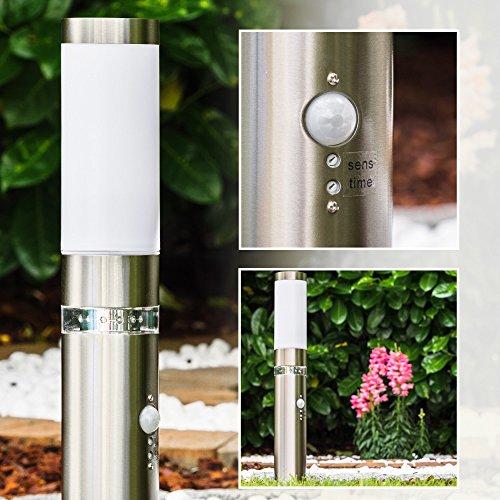 Außensockelleuchte Avize aus Edelstahl mit Bewegungsmelder und LED Kranz 50 cm hoch