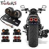 triclicks Motorrad Rücklicht Bremslicht Frontblinker Licht Schritt ES Licht mit Nummernschild Halterung für geländefahrzeugen Dirt Bike Custom Chopper