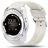INDI V8 Smart Watch Bluetooth Smartwatch with Camera SIM Slot TF Card Smart Watches for Android for Men Phones Samsung LG Sony HTC Google Pixel Phone (White)