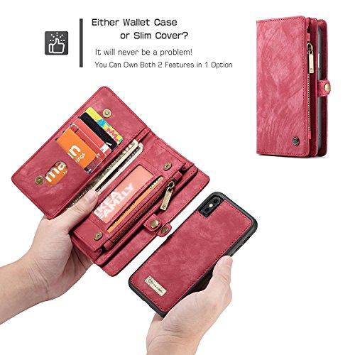Fucaiqian iPhone X Luxus handgefertigte Trifold Leder Brieftasche Fall mit abnehmbaren Rückendeckel & Magnetverschluss & Card Slot & Zipper & Landyard (Color : Red) -
