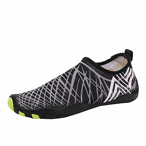 Scarpe da immersione Scarpe piedi nudi acquatico Aqua calzini per Yoga Scarpe da Surf Spiaggia Uomo Donna,36-46 Grigio