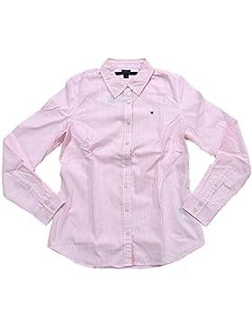 Tommy Hilfiger Damen Bluse Business Hemd Damenbluse weiß/rosa gestreift Größe S