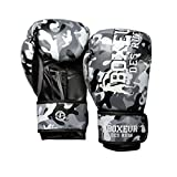 BOXEUR DES RUES Serie Fight Activewear, Guantoni da Boxe Unisex – Adulto, Grigio, 10 OZ