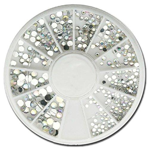 RM Beautynails Boîte de strass ronds petits et grands pour le nail art Argenté/transparent irisé