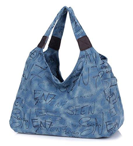 Keshi Leinwand Cool Damen Handtaschen, Hobo-Bags, Schultertaschen, Beutel, Beuteltaschen, Trend-Bags, Velours, Veloursleder, Wildleder, Tasche Blau