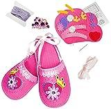 Unbekannt Bastelset - Filz -  Pantoffeln / Hausschuhe - Prinzessin Ballerina  - zum Sticken, einfaches Nähen per Hand - incl. Name - Gr. 30 - 35 / Circa 6 - 10 Jahre ..