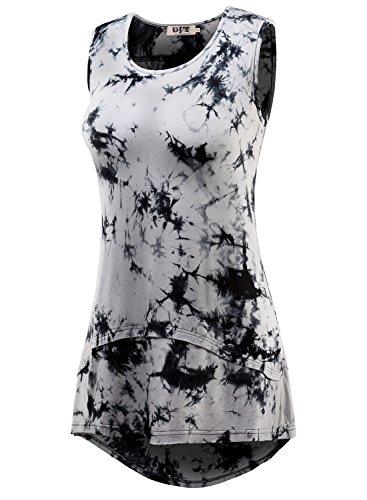DJT Femmes Tops ete Blouse Casual T-shirt Sans Manche Gris-Noir
