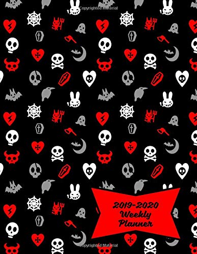 2019-2020 Weekly Planner: Cute Skulls, Goth Hearts & Evil Bunnies Academic Calendar with Goal-Setting Section, 8.5