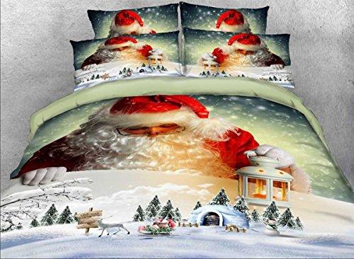 ENOLLA 3d impression Parure de lit avec linge de chambre Double housse de couette Motif Floral 4 pièces 1 housse de couette 1 lit feuille 2 taies d'oreiller, D, Full