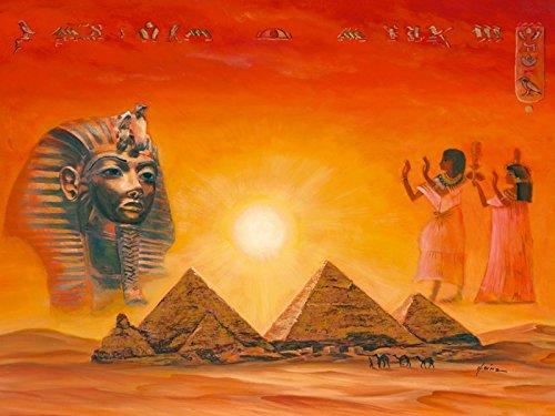 Artland Poster Kunstdruck Wand-Bild Fine-Art-Print in Galeriequalität Reproduktionen A. Heins Ägyptische Impressionen Landschaften Afrika Ägypten Malerei Orange 60 x 80 x 0,1 cm A6VQ -