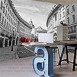 Mural PapelPintado TelaNoTejidamural De Autobuses De Londres Arquitectura Roja Retro Estilo Británico Murales A Gran Escala Fondo De Pantalla De Pared En 3D, 400 * 280 Cm