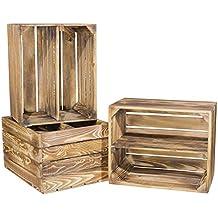 3er-Set Apfelkisten aus geflammtem Holz mit zusätzlichem Mittelbrett als Schuh- oder Bücherregal