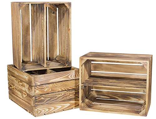 5er Set geflammte Kiste für Schuhregal und Bücherregal - Holzkiste Obstkiste Dekokiste flambiert - Kistenregal Regalkiste Obstkistenregal Schuhkiste Regal Wandregal Garderobe 50x40x30cm (5 Regal-land Bücherregal)