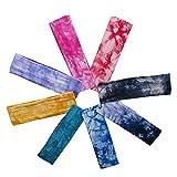 8PCS Cotton Elastic Yoga Headbands Sport Headbands Assorted Colors Headbands for Teens, Girls and Women