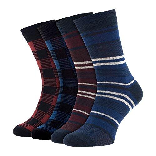 Jack & Jones 4-er Set Socken Schwarz, Rot und Blau : 41-46 Größe 41-46