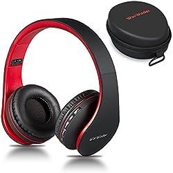Casque Bluetooth sans Fil, Wireless Headphones Stéréo on Ear Pliable Casque 4 en 1 avec Micro Support FM Radio TF SD pour Téléphones Tablettes TV PC Notebook
