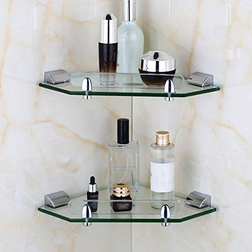 Glas Badezimmer-eck-regal (Yxsd Glas-Badregal, multifunktionales Eck-Wandbehanggestell, 24 * 34cm (Size : 24 * 34cm*2pcs))