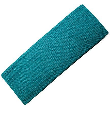 Jungenstirnband Stirnband Strickstirnband Winterstirnband Mützenersatz Ohrenwärmer Baumwolle uni elastisch für Kinder (PT-7830-W16-JU0-23-OS) in Smaragd, Größe OS inkl. EveryHead-Hutfibel