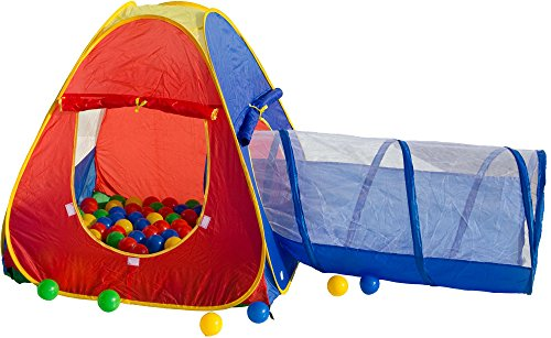 Beach & Pool Bällebad bunt mit Tunnel Pop-Up incl. 100 Bälle Spielzelt Babyzelt Kinderzelt BS003