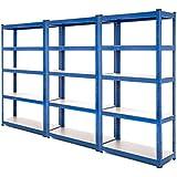 3bahía resistente garaje estantería de acero–estantería (150kg por estante (5niveles 1500mm H x 750mm W x 300mm D) + entrega gratis al día siguiente