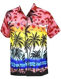 La Leela aloha rouge hawaïen manches courtes caribbean bouton vers le bas poche plage chemise hommes xs rouge - 5XL