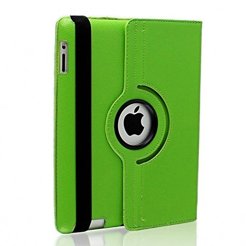 Nouveau design vert en PU imitation cuir avec support rotatif à 360° Etui folio Housse pour iPad 3