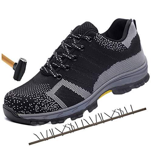 Scarpe da lavoro, Scarpe antinfortunistiche da uomo Scarpe protettive da donna con puntale in acciaio Scarpe da trekking da trekking sportive Scarpe da trekking Scarpe da corsa da trail,Black,10.5