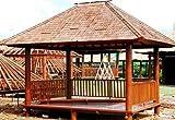 Rechteckiger Kokosholz Gartenpavillon mit Geländer + Treppe / Garten & Outdoor Deko/ Variante: Größe u Dacheindeckung: 2x3 mit Reisstrohdach