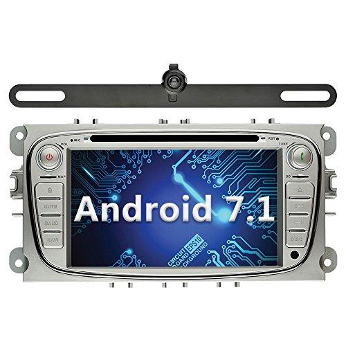 YINUO 7 Zoll 2 Din Android 7.1.1 Nougat 2GB RAM Quad Core Autoradio Moniceiver DVD GPS Bluetooth Navigation für Ford Mondeo/Ford S-Max/Ford C-Max/Ford Focus/Ford Galaxy Silber (Autoradio mit Kamera 2) (Waze Autoradio)