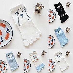 Amphia – Baumwollsocken für Herren und Frauen – Cartoon Animals – Split Toe SocksKinder Tier Design Zehensocken fünf Finger Socken Baumwolle lustige Socken