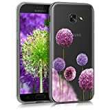 kwmobile Hülle für Samsung Galaxy A5 (2017) - TPU Silikon Backcover Case Handy Schutzhülle - Cover klar Blume Kugel Design Pink Violett Transparent