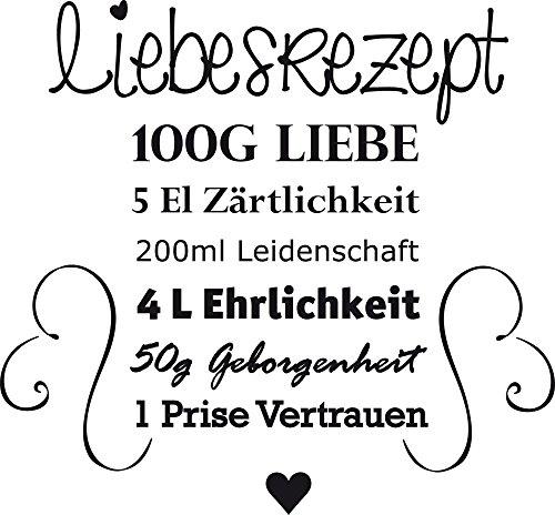 o Küche Bilder Geschenk zur Hochzeit - Wandsprüche Küche Liebesrezept - Küchenwandtattoo Herzen - Wandtattoo Küche Liebe / 62x57cm / 070 schwarz / 300033_57_WT070 ()