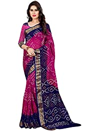 Shree Sondarya Bandhani Women's Art Silk Saree With Blouse Piece (Ssb-S3071-02_Purple-Blue)