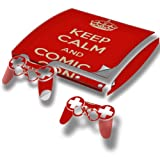 Keep Calm And Comic Con, Designfolie Sticker Skin Aufkleber Schutzfolie mit Farbenfrohem Design für PlayStation 3 Slim