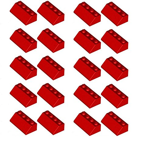 lego-20-x-roof-tile-2x4-45-red-sloped-brick-new-part-no-3039