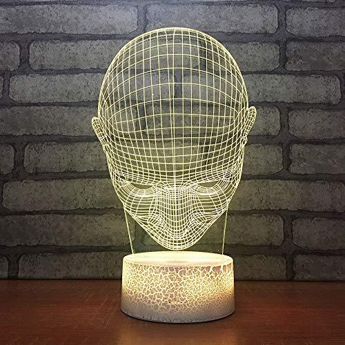 Bbdeng 3D-Nachtlicht Runde Kopfform Energie Sparen LED-Touch-Farbe Optische Beleuchtung Kreative Kinder Schlafen Tischlampe USB Oder Batterie-Remote control