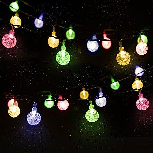 LED Solar Lichterkette Kristall Kugeln 4.5 Meter 30er Mehrfarbig, Mr.Twinklelight Außerlichterkette Deko für für Garten, Bäume, Terrasse, Weihnachten, Hochzeiten, Partys, Innen, Der abstand zwischen zwei leuchten 10 CM. [Energieklasse A++]