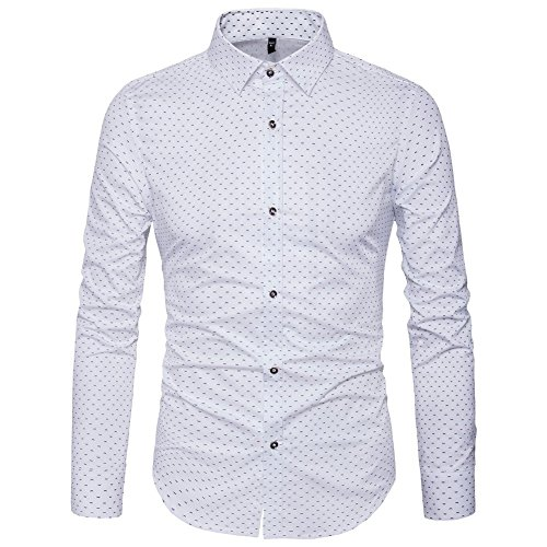 AIYINO Herren Bedruckte Hemd Langarm Baumwolle Freizeit Slim Fit (X-Large, 17-Weiß)
